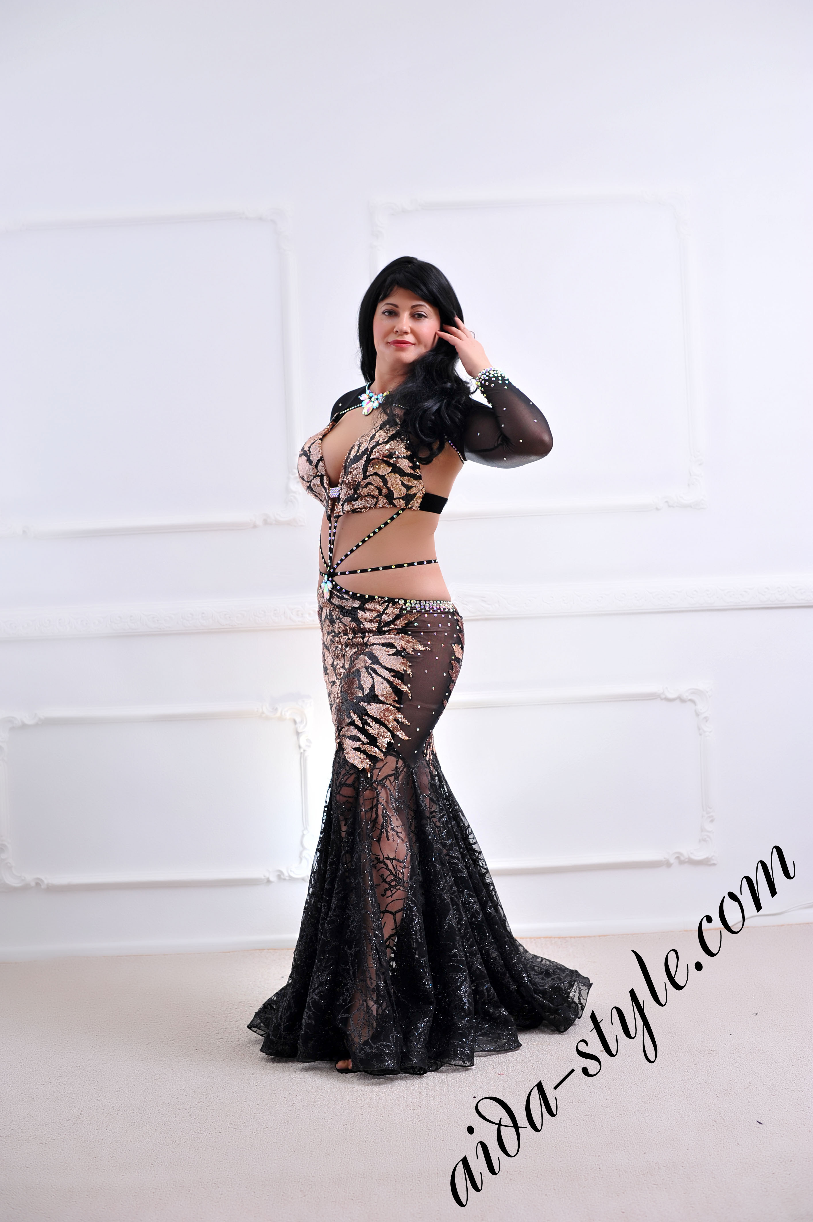 ae00d80b63e designer s belly dance costume for oriental dance by Aida Style (88) in  golden and