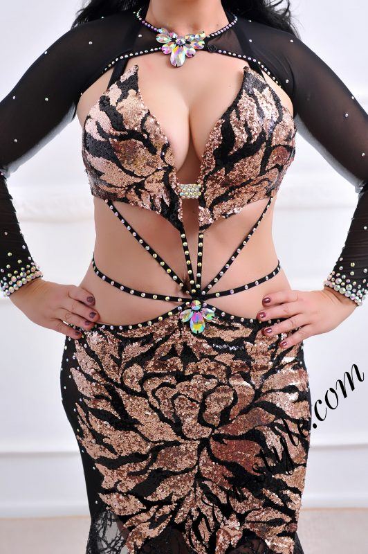 designer's belly dance costume for oriental dance by Aida Style (88) in golden and black colors