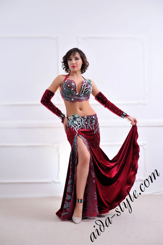 designer's belly dance costume for oriental dance by Aida Style (92) in bordeaux and turquoise colors