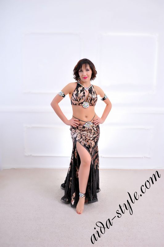 golden and black designer's belly dance costume for oriental dance by Aida Style (39) with mermaid skirt