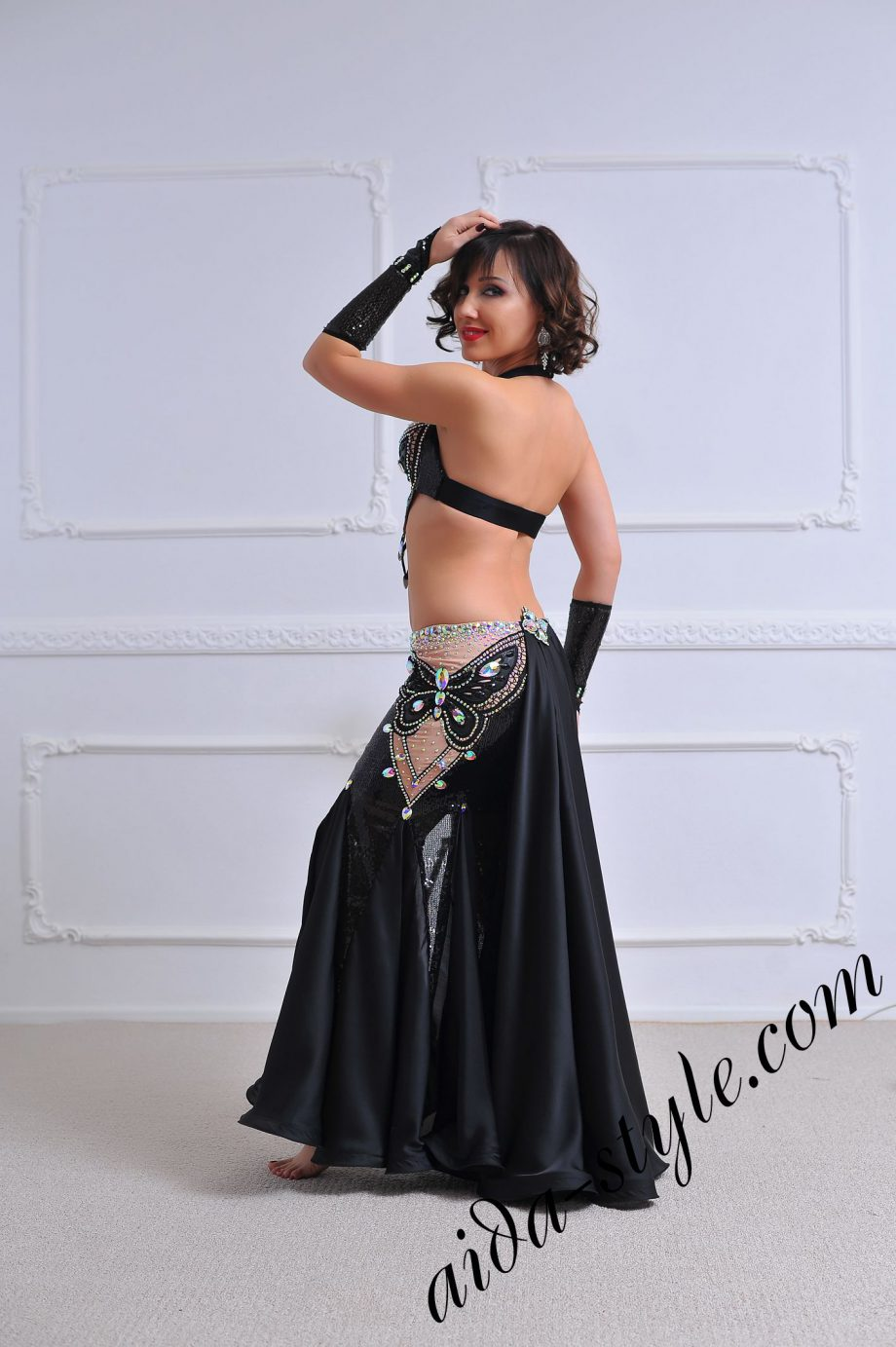 black butterfly design belly dance costume with unique decoration (4) by aida style