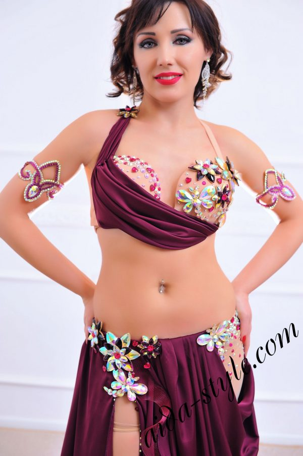 bordeaux designer's belly dance costume (1) with authentic hand crafted decoration