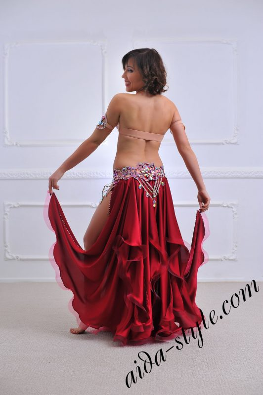bordeaux sexy and revealing bellydance costume (4) with open legs and authentic hand made decorations