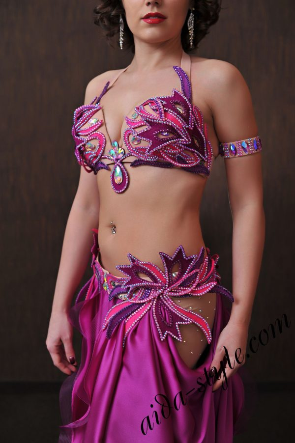 fuchsia designer costume for belly dancing (4) by aida style with unique hand made decorations