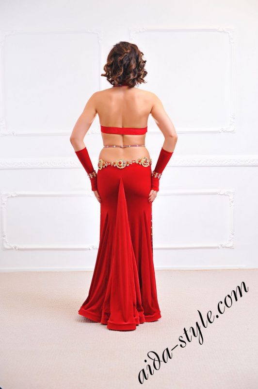 red designer's dress for belly dancing with gloves and mermaid skirt from aida style