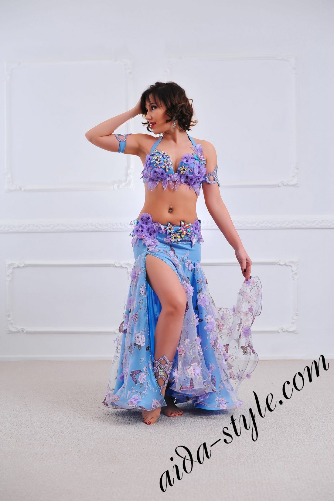 spring style belly dance costume in light blue (1) by aida style