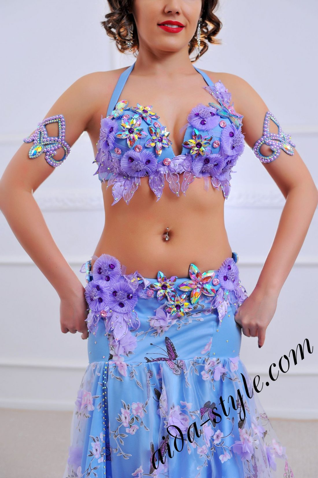 a close up of spring style belly dance costume in light blue (3) by Aida Style