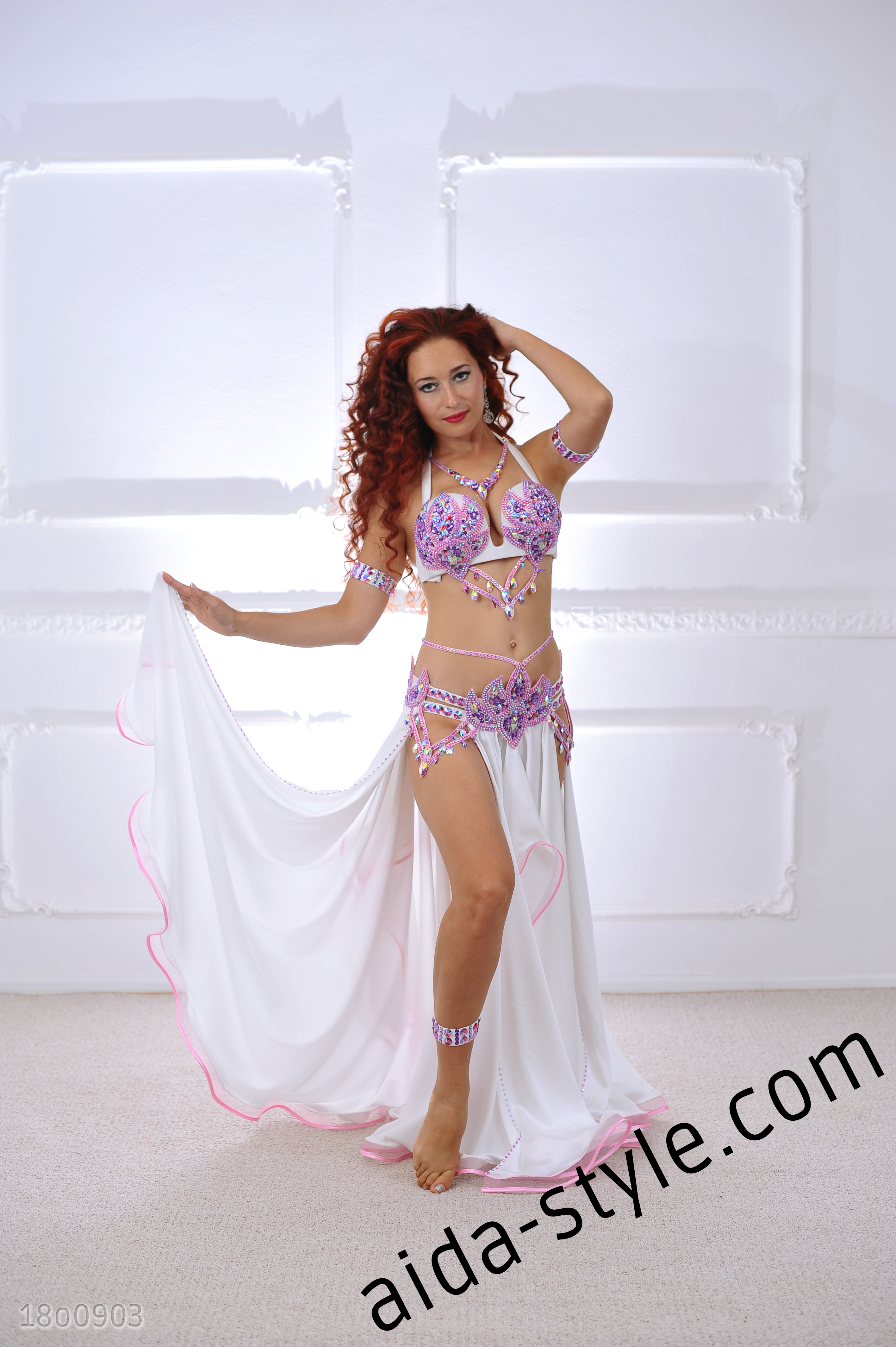 d97499f57b6e White Belly Dance Costume With Pink Decorations – Aida Style