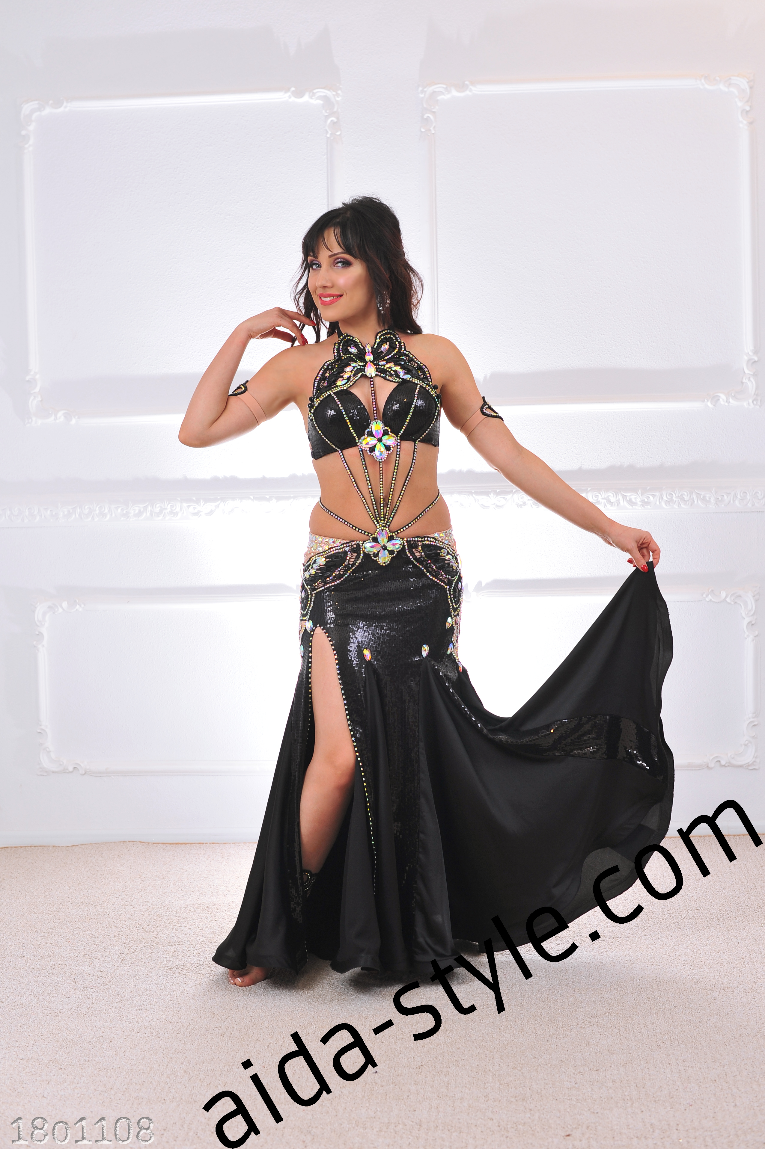 cadffa33ad497 Black Belly Dance Costume With Sequins And Butterfly – Aida Style