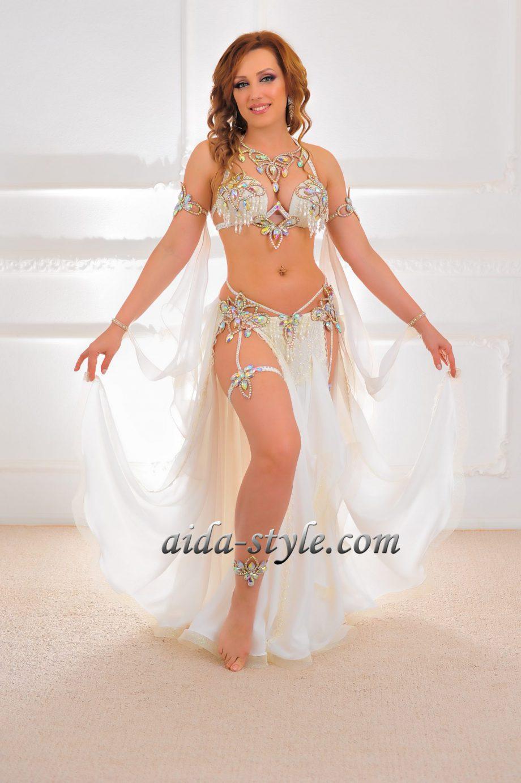 white belly dancer costume