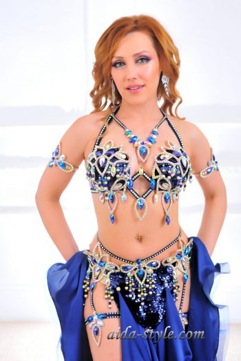 blue professional belly dancing costume