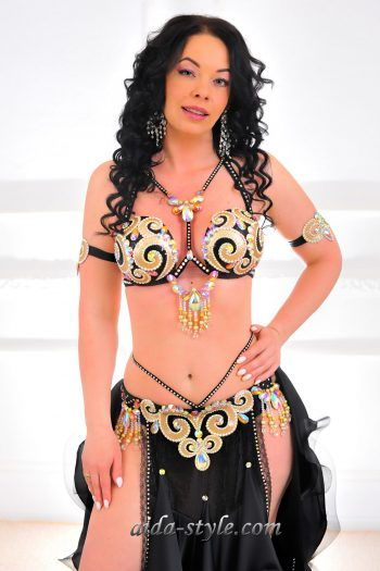 black womens belly dancer costume