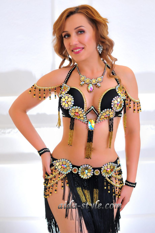 black costume for belly dancers