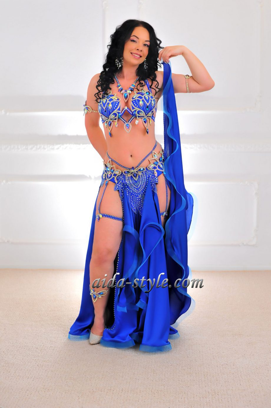 blue belly dancing outfit