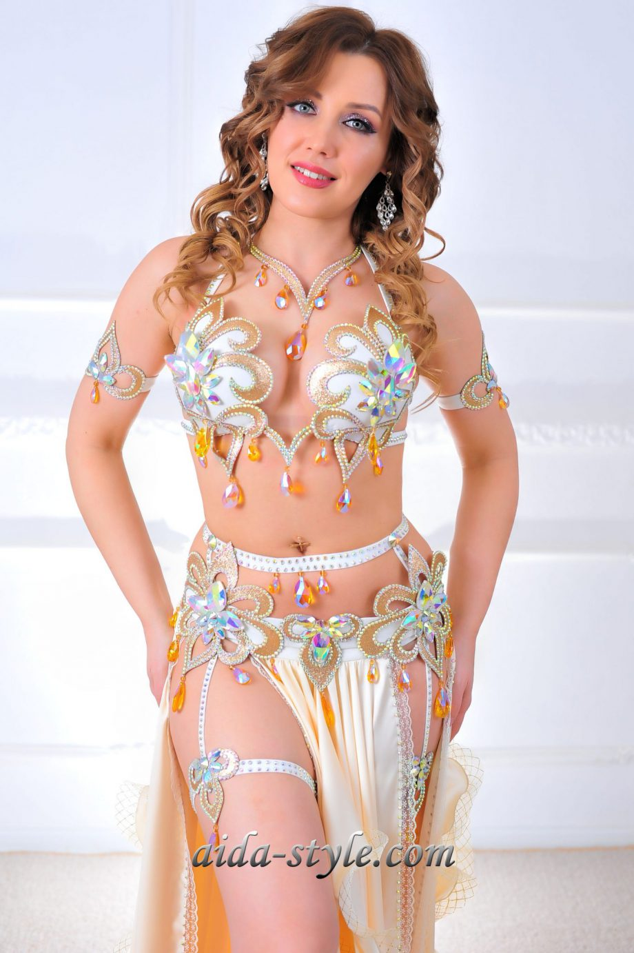 white gold belly dance costumes
