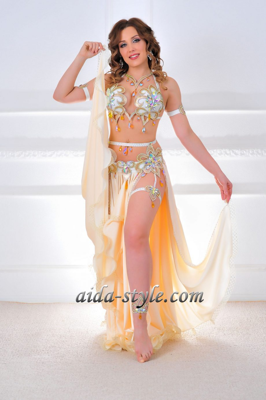 golden costume for belly dancing