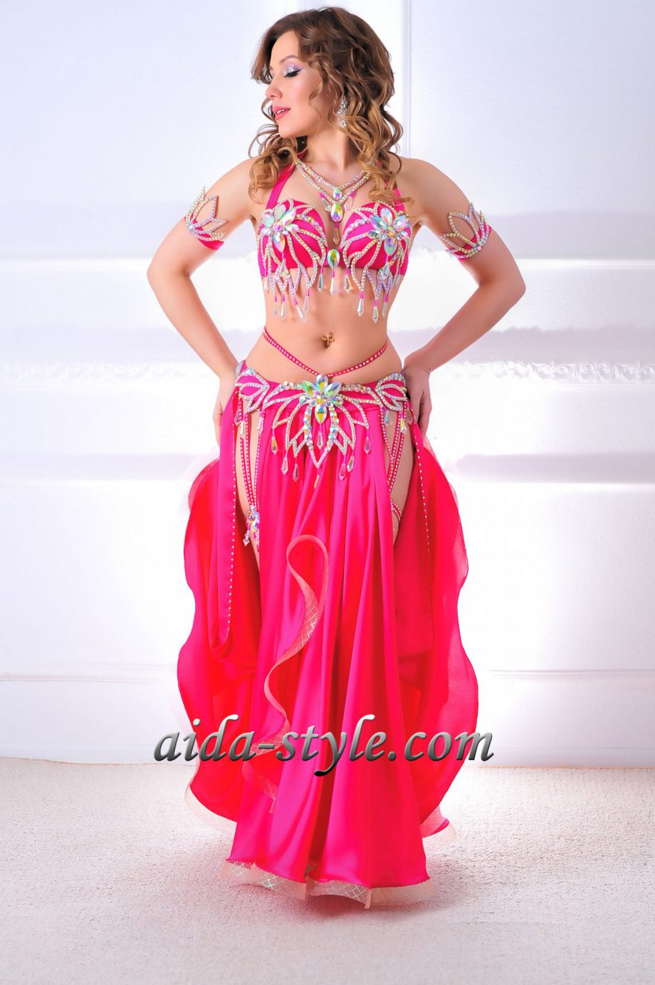 pink costumes of belly dancing