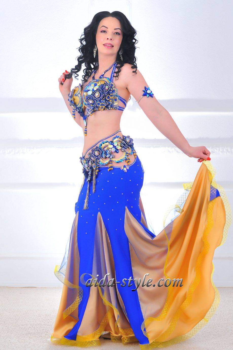 blue costume for belly dancers