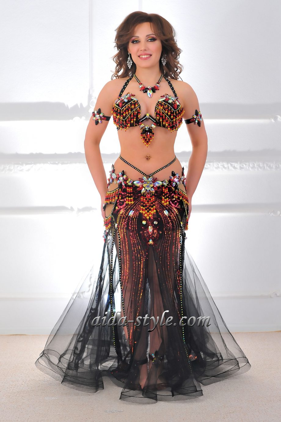 black professional belly dance outfit