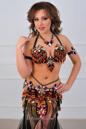 black costume for belly dancers