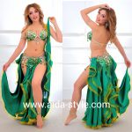 Belly dance costume green and gold