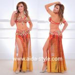Belly dance costume red and gold gradient