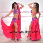 Belly dancing outfit with lace flowers