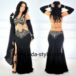 Black belly dance dress with gloves