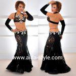 Elegant black velvet belly dance costume