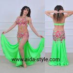 Neon green belly dance costume