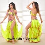 Neon yellow belly dance costume