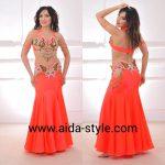 Orange neon butterfly belly dance costume
