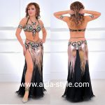 Professional belly dance costume Black and gold