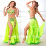 Professional belly dance costume Neon yellow and green