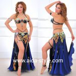 Professional belly dance costume with garters