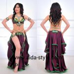 Rich belly dancing costume purple with emerald