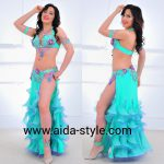 Turcuoise belly dance costume with fringls