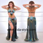 Unique belly dance costume with garters