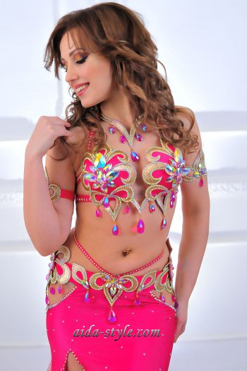 professional pink belly dance costumes