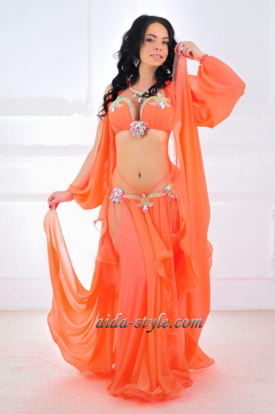 orange belly dance costume