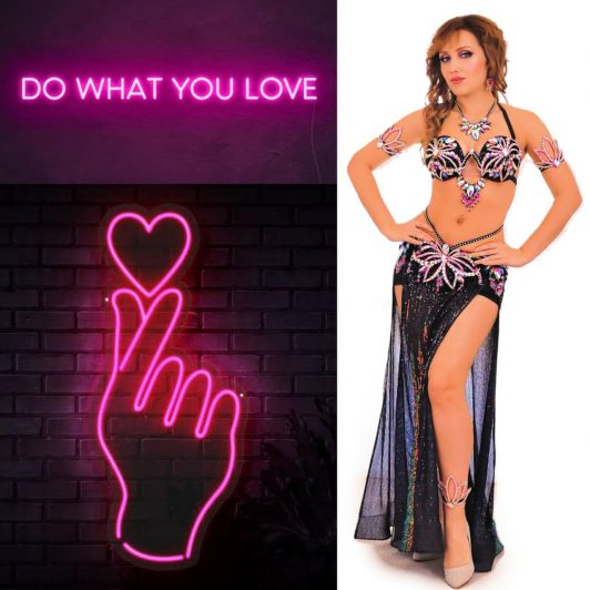 black with pink belly dance costume