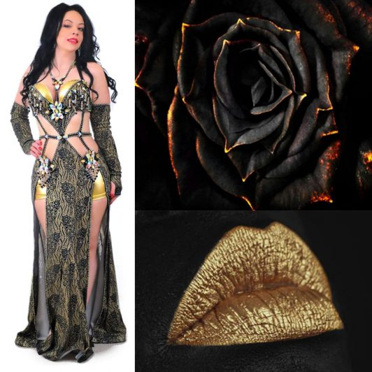 black and gold belly dance dress