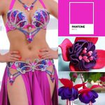 belly dance costume fuchsia butterfly