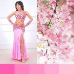 pink belly dance costume with flowers