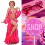 pink belly dance costume with sleeves