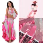 pink belly dance costume with white lace