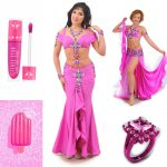 pink belly dancers costume